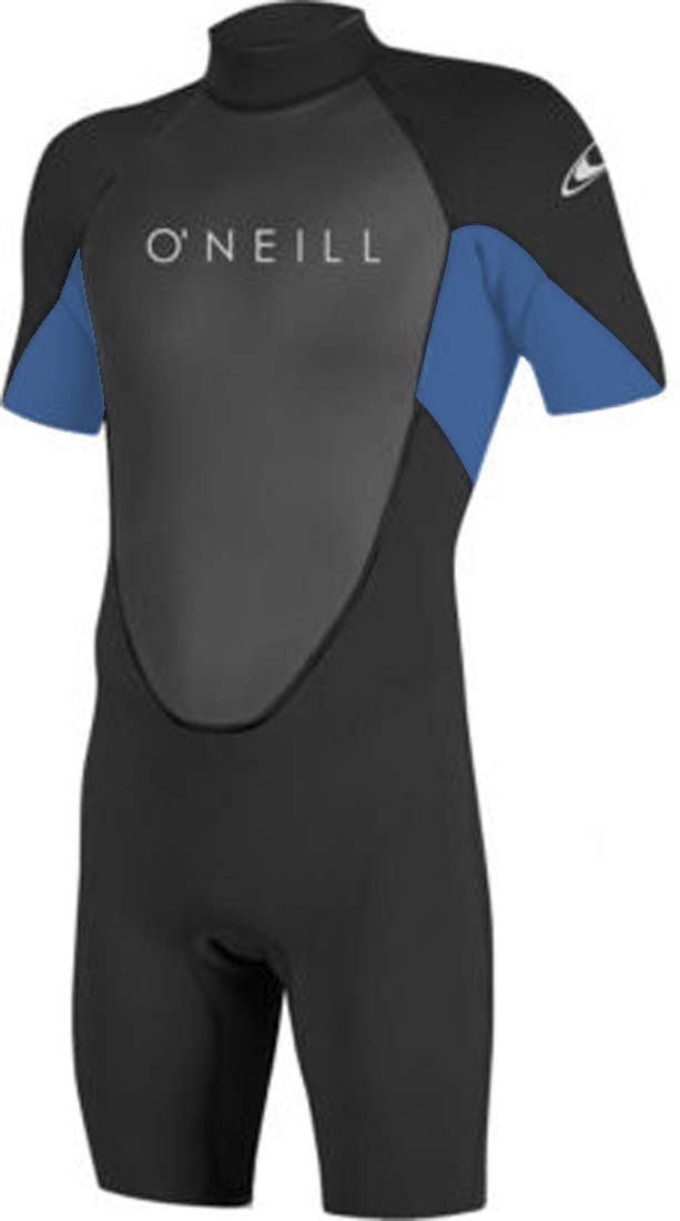 O'Neill Men's Reactor-2 2mm Back Zip Short Sleeve Spring Wetsuit, Medium, BLK/DSTYBLU/BLK