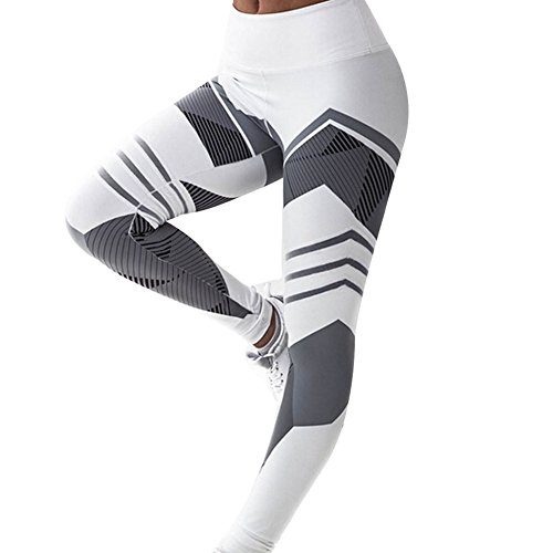 Geometric Leggings (Women Sports Trousers Athletic Gym Workout Fitness Yoga Leggings Pants (Tag S -- US 4, Geometric White))