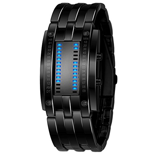 KingBig Binary Watch,Luxury Stainless Steel LED Digital Bracelet Sport Plated Wrist Watch for - Men Binary For Watches