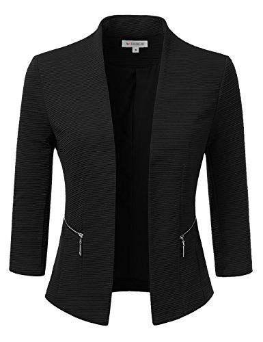 Doublju Classic Collarless Open Front Blazer Jacket (Plus size available) BLACK 3XL