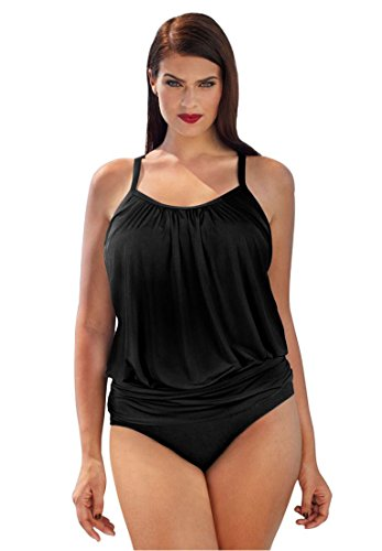 79b5b40f189cc Swim 365 Women's Plus Size Blouson Tankini Black,24
