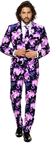 [Mens 'Galaxy Guy' Costume Suit and Tie By Opposuits, 50] (50's Costumes For Guys)