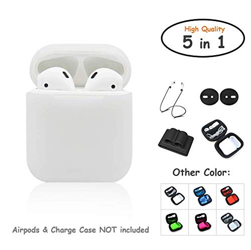 e5651a64262 AirPods Case 5 in 1 Airpods Accessories Kits Protective Silicone Cover and  Skin for Apple Airpods