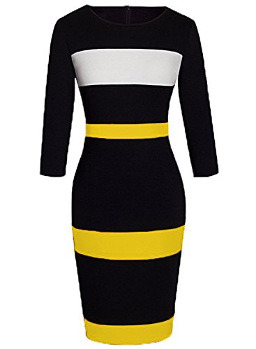 WOOSEA Women's Sleeveless Voguish Colorblock Stripe Cocktail Party Pencil Dress (Small, Yellow 2#)