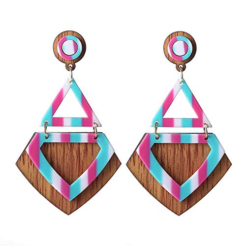 Classic Drop Resin Earrings Big Long Geometric Acrylic Ethnic Fashion Elegant Wood Dangling Earring,blue (Blue Gold Glass Venetian 14k)