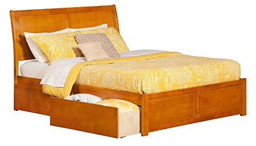 Portland Flat Panel Foot Board with 2 Urban Bed Drawers, King, Caramel (Atlantic Furniture Panel)