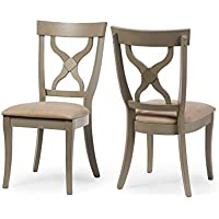 Wholesale Interiors 2 Piece Balmoral Shabby Antique X-Back Dining Side Chair Set, Oak/Distressed Light Grey