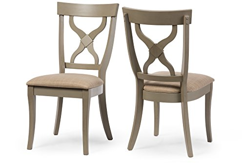 Wholesale Interiors 2 Piece Balmoral Shabby Antique X-Back Dining Side Chair Set, Oak/Distressed Light Grey (Shabby Chic Dining Sets)
