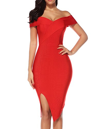 Women's Side Split Off Shoulder Bodycon Bandage Celebrity Cocktail Party Dress (Red, XS)