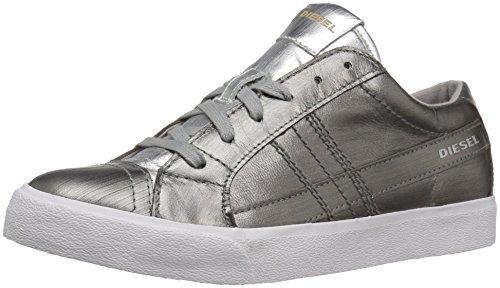Diesel Women's D-Velows D-String Low W Fashion Sneaker, Gunmetal/Silver, 8 M US