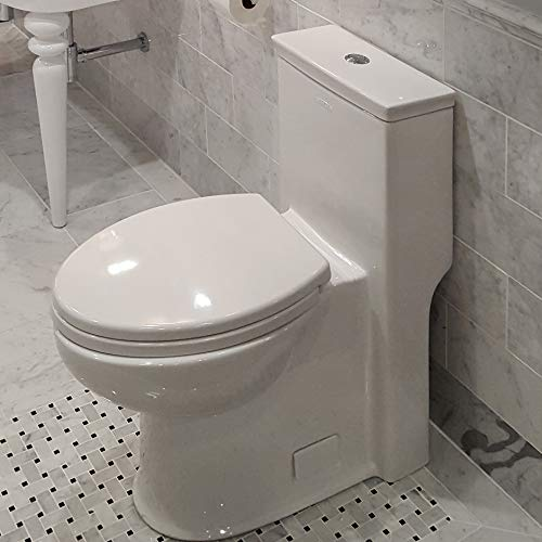 Toilet Piece Standing Floor One - Floor-standing elongated one-piece porcelain toilet with siphonic single flush system (1.28gpf), include a set cover and tank W: 14 1/2