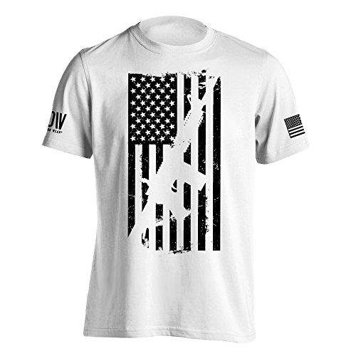 Dion Wear AR15 American Flag M4 T-Shirt XX-Large White ()