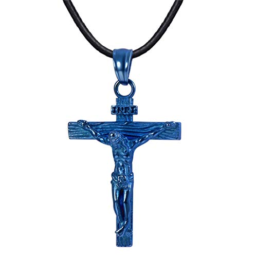 U7 Novelty Ion-Plating Blue Metal Crucifix Cross Pendant with Leather Cord Chain Necklace 22