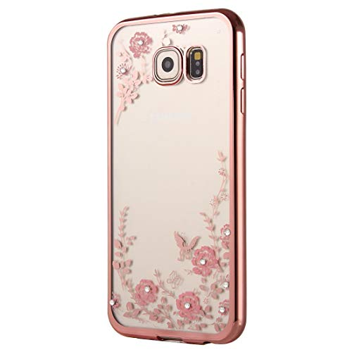 YSH Cell Phone Accessories for Galaxy A9(2016) / A900 Flowers Patterns Electroplating Soft TPU Protective Cover Case(Rose Gold) Case for Samsung (Color : Color1)