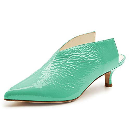 Women Sandals Mules Shoes XYD Slip On Heels Low Clog Pointed Toe Slide Pumps Kitten Aqua HwaRaxfqd