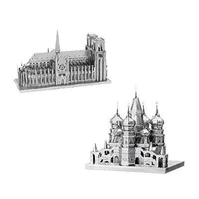 Metal Earth Fascinations Iconx Notre De Paris Dame E Iconx Saint Basils Cathedral Puzzle In Metallo 3d Giocattoli Da Costruzione Modelli Di Taglio Laser