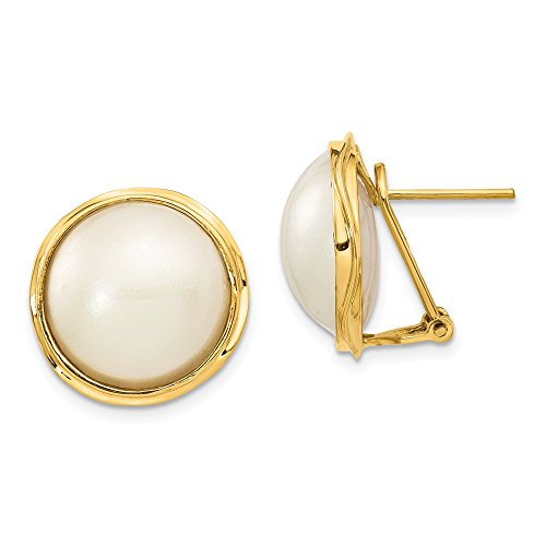 - 14k Yellow Gold 14-15mm Mabe Pearl Earrings 22x18 mm
