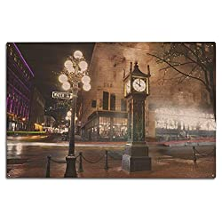 Lantern Press Vancouver, BC, Canada - Vancouver Steam Clock in Gastown at Night - Photography A-93927 (10x15 Wood Wall Sign, Wall Decor Ready to Hang)