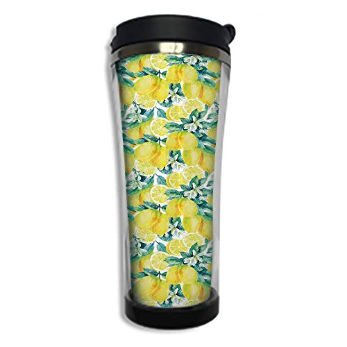 Customizable Travel Photo Mug with Lid - 14.2OZ(420 ml) Stainless Steel Travel Tumbler, Makes a Great Gift by,Modern,Watercolor Paintbrush Stylized Lemons with Murky Hazy Effects Artful Image,Forest ()