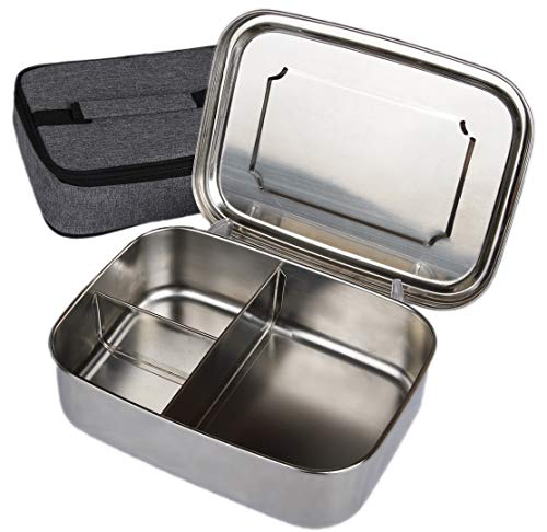 Stainless Steel Bento Box for Kids + Adults - BONUS Insulated Lunch Bag - 3 Compartments Fits Full Sandwich + 2 Snacks - For Men, Women & Kids -BPA Free- Large Metal Bento Container with Lunch Bag