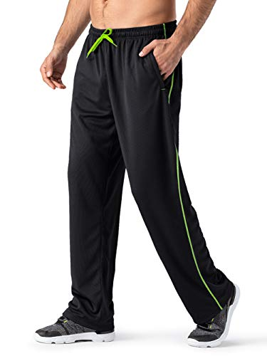 MAGNIVIT Men's Warm-Up Pants Athletic Running Training Jogging Sport Pants with Pockets Black