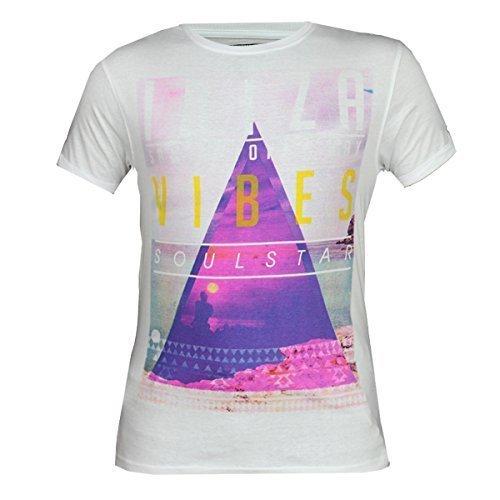 Herren T-shirts Soul Star Vibes Dreieck Graphischer Aufdruck Kurzärmelig Crew Sommer - weiß - VIBES, Large