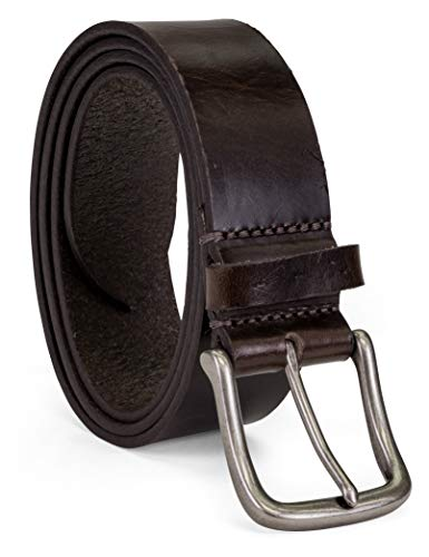 Colonial Belt Company Men's Made in The USA Casual Leather Jean Belt, Brown/Classic, 36