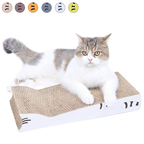 AMZNOVA Cat-Shaped Cat Scratchers, Cozy & Recyclable Scratching Pad with Corrugated Cardboard, White, - Materials Corrugated Cardboard