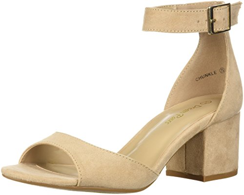DREAM PAIRS Women's Chunkle Pump, Nude Suede, 7 M US