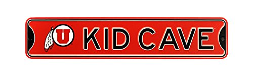 Authentic Street Signs NCAA College Officially Licensed STEEL Kid Cave Sign-Decor for sports fan bed room! … (Utah Utes) from Authentic Street Signs