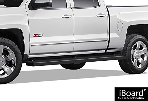 iBoard (Black Powder Coated 5 inches Wheet to Wheel) Running Boards | Nerf Bars For 2007-2018 Chevy Silverado / GMC Sierra Crew Cab 5.5ft Short Bed & 2019 2500 HD / 3500 HD (Excl. 07 Classic Models)