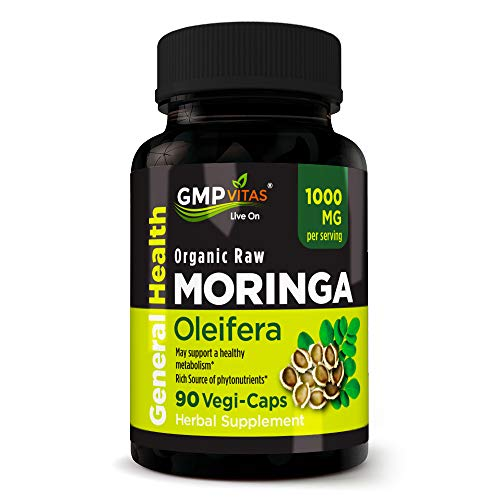 GMP Vitas Organic Moringa Oleifera 1000 mg Per Serving 90 Vegetarian Capsules Great Source of Essential Vitamins and Proteins for Overall Wellness