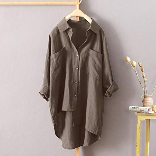 Blouse Buttons Longue T Grande AsymTrique Chic Manche Sexy Loose Tops Marron Taille Mode Casual Chemisier Shirt Femme 7qfHFn