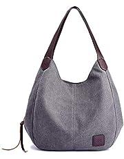 Gindoly Damen Canvas Handtasche Klein Vintage Shopper Schultertasche Henkeltasche Hobo Tasche EINWEG