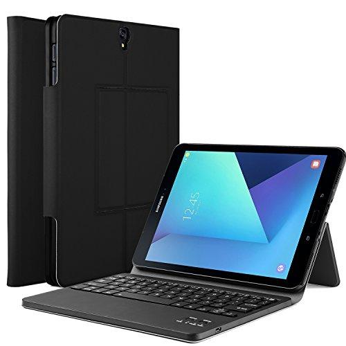 IVSO Samsung Galaxy Tab S3 9.7 Case With Keyboard Ultra-Thin DETACHABLE Bluetooth Keyboard Portfolio Stand Case/Cover for Samsung Galaxy Tab S3 9.7-Inch Tablet w/ S Pen SM-T820/SM-825 (Black) - Galaxy Tab 3 Accessory Keyboard