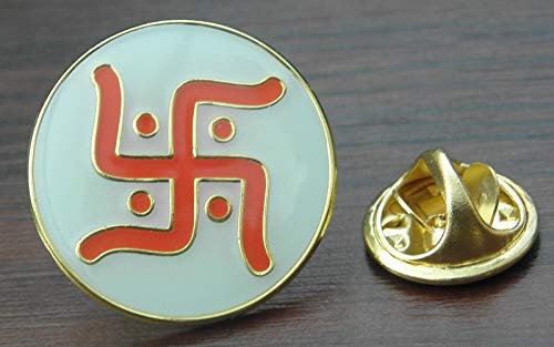 Hindu (Not WW2) Swastika Ganesha Lakshmi Auspicious Symbol Pin Badge