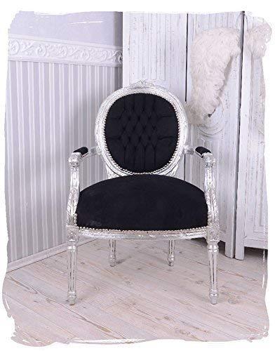 Sillón fastuoso PLATA NEGRO Medallón sillón barroco silla ...
