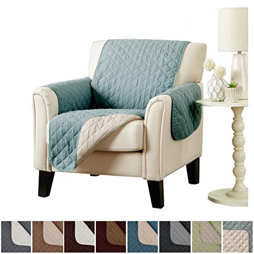 Home Fashion Designs Deluxe Reversible Quilted Furniture Protector. Perfect for Families with Pets and Kids. (Chair, Blue Silver) -