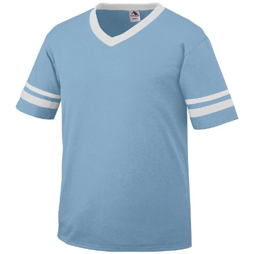 Adult Large Light Blue Shirt/White Striped Sleeves 50/50 Poly/Cotton 50 Baseball Adult Jersey