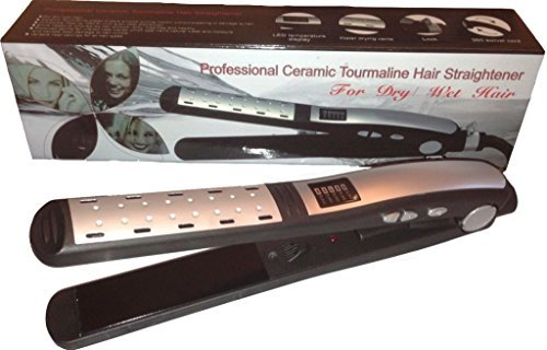 Hair Straightener/Flat Iron Professional Ceramic Tourmaline Plates/Color Silver by SV
