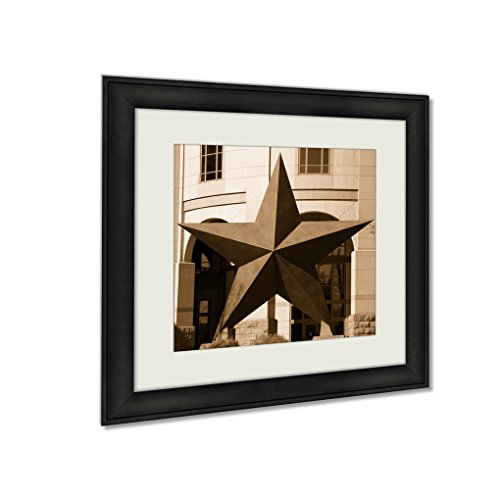 Adams Field Frame - Ashley Framed Prints Large Metal Star Which Used The Texas State Seal Note Shallow Depth Field, Wall Art Home Decor, Sepia, 22x22 (frame size), AG5420275