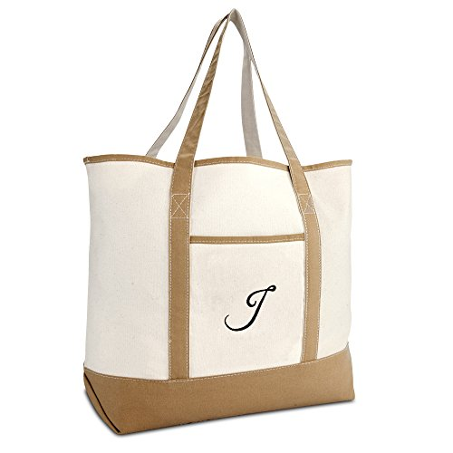 DALIX Women's Natural Tote Bag Shoulder Bags Brown With Monogram Letter ()