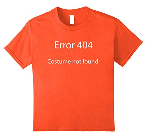 Kids Halloween Error 404 Costume Not Found Geek Nerd T Shirt 12 Orange (Nerd Costume Spirit Halloween)
