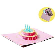 Liangery 3D Happy Birthday Cake and Candles Greeting Gift Cards with Envelop (Happy Birthday)