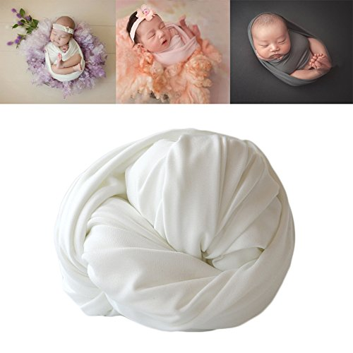 Newborn Baby Photo Props Blanket Backdrop Cotton Stretch Without Wrinkle Wrap for Boy Girls Photography Shoot (White) by Coberllus (Image #1)