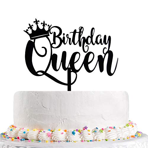 Queen Birthday Cake Topper Black Happy Birthday Cake Topper, 16th - 18th - 21st - 30th - 40th - 50th - 60th - 70th - 80th - 90th - 100th Cake Toppers Birthday Party Decoration