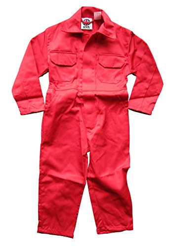 WWK / WorkWear King Boy's Kids Childrens Boilersuit Coveralls Overalls (Size 30, 9-10 Years, Red)