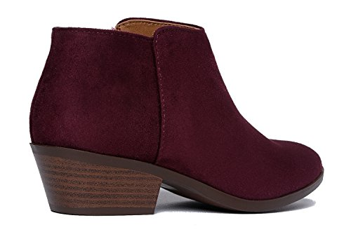 Stacked J Casual Bootie Boot Closed Adams Ankle Toe Western Vino Low Suede Lexy Heel XqAXw6