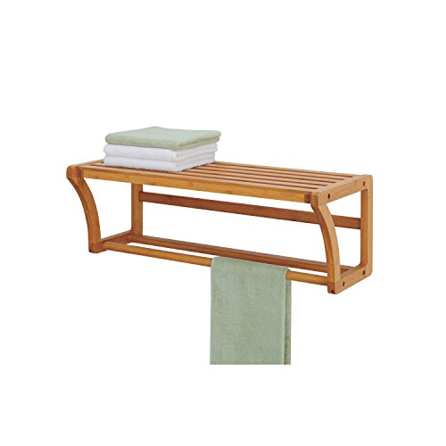 Organize It All Natural Bamboo Wall Mounting Shelf with Towel Bars by Organize It All (Image #1)