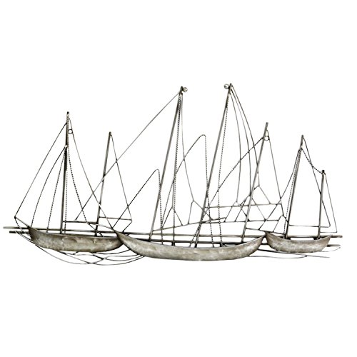 Stratton Home Decor -- Dropship, us home, SUHQX S03897 Antique Silver Grand Sailboat Wall Decor Antique Silver